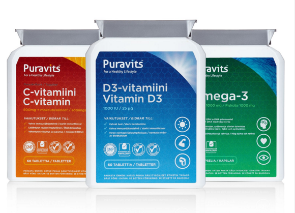 Puravits-vitamiinipakkaus 16,95€ (ovh 23,85€) sis.toimituskulut