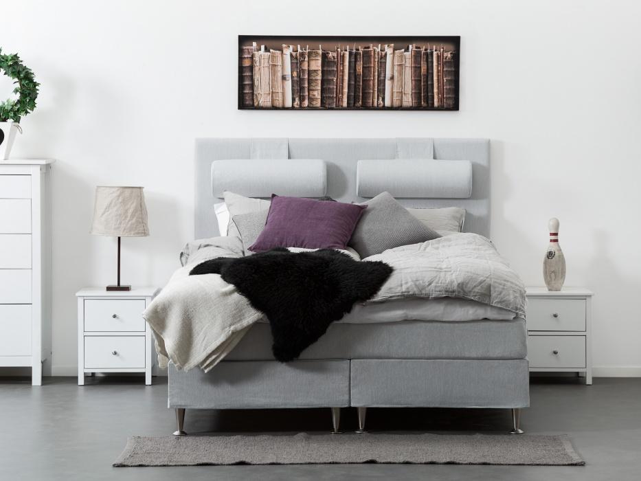 180 cm vaaleanharmaa FELICIA-jenkkisänky 800€ (ovh 1599€)