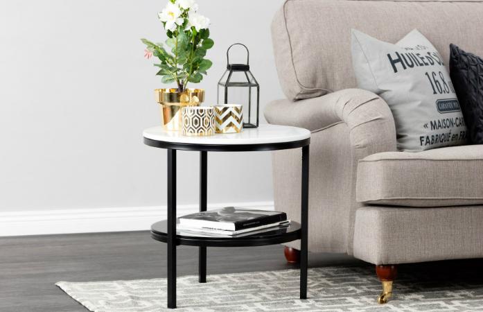 Pyöreä SANDY-sivupöytä marmorilevyllä, valkoinen/musta 179€ (säästä 60%)
