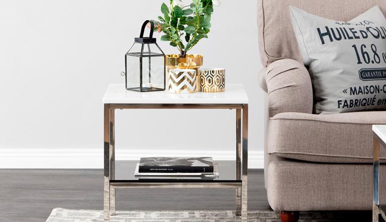 SANDY-sivupöytä marmorilevyllä, valkoinen/teräksinen 239€ (säästä 52%)