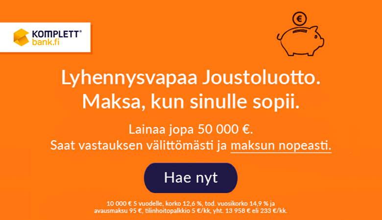 Lyhennysvapaa Joustoluotto 50 000€ asti Komplett Bankista