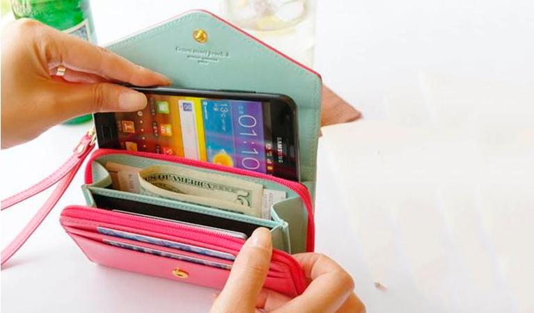 Puhelinlaukku/lompakko, seitsemän eri värivaihtoehtoa 11,90€ (säästä 63%)