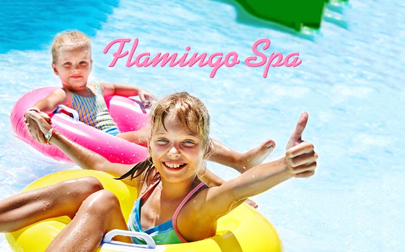 Flamingo Spa Vesipuisto -perhepaketti (sis. 2 aikuista ja 2 lasta) 32€ (säästä 53%)