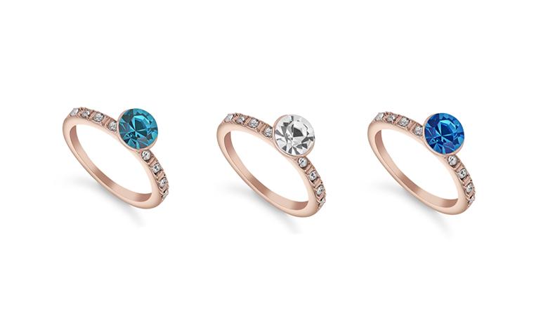 Ruusukultainen sormus Swarovski-kristallilla alk. 9,90€ (säästä 88%)