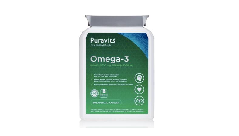 Puravits Omega-3 -kalaöljykapselit 10,50€ (säästä 60%)