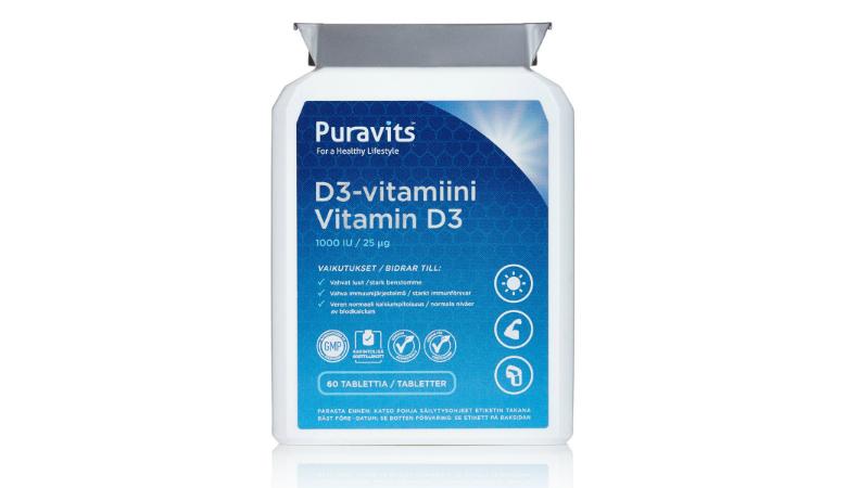 Puravits D3 -vitamiini 5,95€ (säästä 63%)