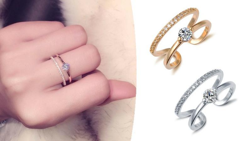 Sayma-sormus Swarovski-kristalleilla, kaksi värivaihtoehtoa 9,90€ (säästä 58%)