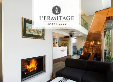 **** Hotel L'Ermitage – yö, aamiaiset, pullo kuohuvaa ja 2 ruokalajin menu kahdelle alk. 94€